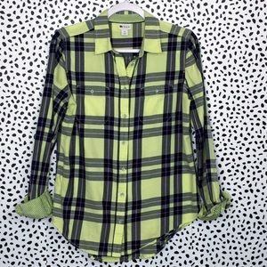 Stylus Chartreuse Plaid Cotton Button Down Shirt